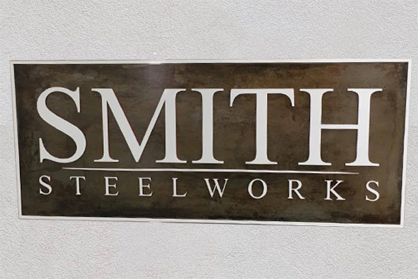 Blackened Steel Office Signs Superior Laser Cutting